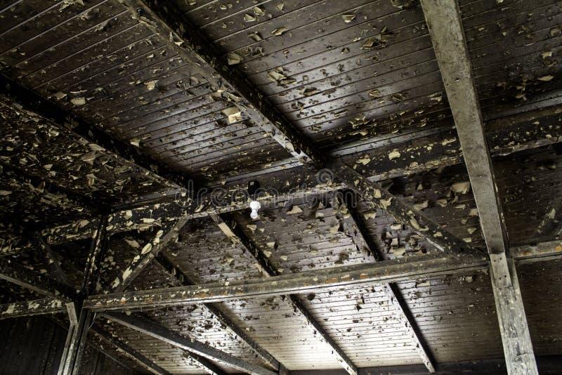 Broken wooden roof royalty free stock photos