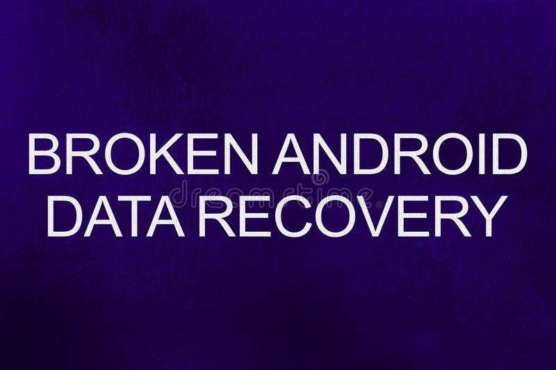 Broken android data recovery text against ultra violet background vector illustration