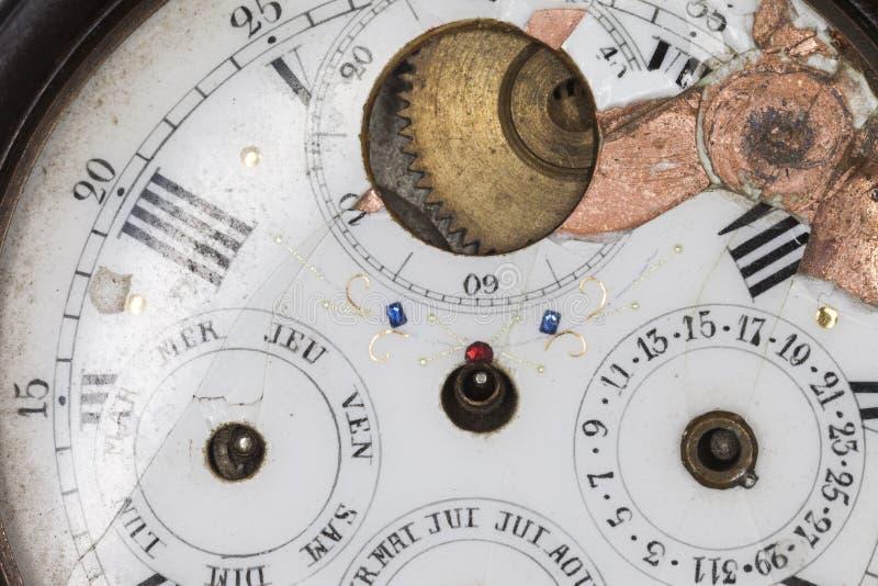 Broken Antique Pocket Watch Detail stock photos