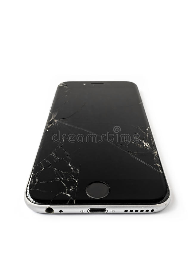 Broken Apple iPhone 6 with cracked screen stock images