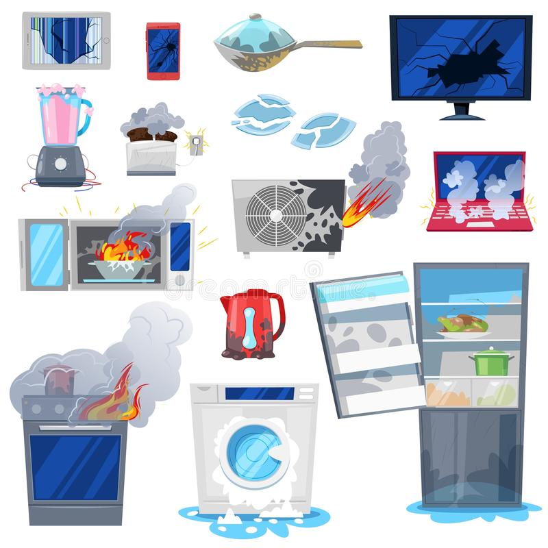 Broken appliance vector damaged homeappliances or burnt electrical household equipment in fire illustration set of burnt. Out refrigerator or washing machine in royalty free illustration