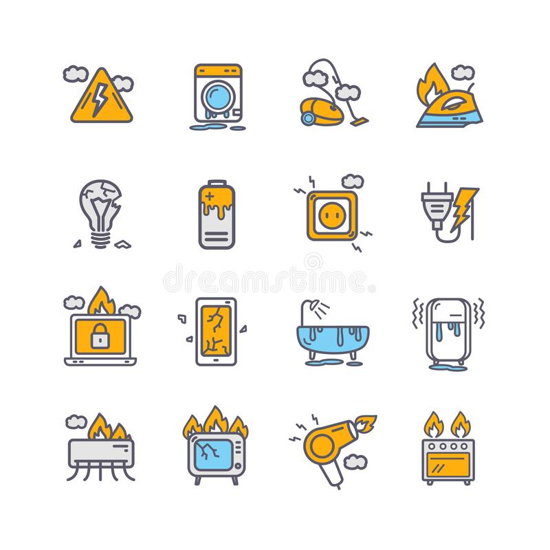 Broken Appliances Color Thin Line Icon Set. Vector stock illustration
