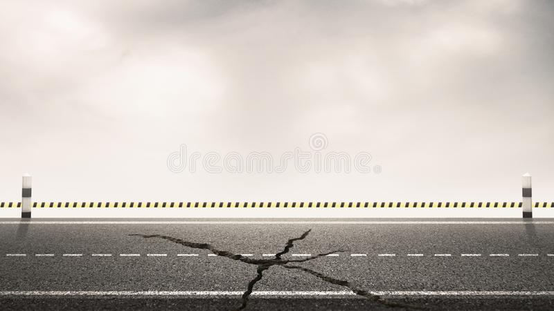 Broken of asphalt highway road with milestones and sky background for design backdrops. Under Construction concept.  stock image
