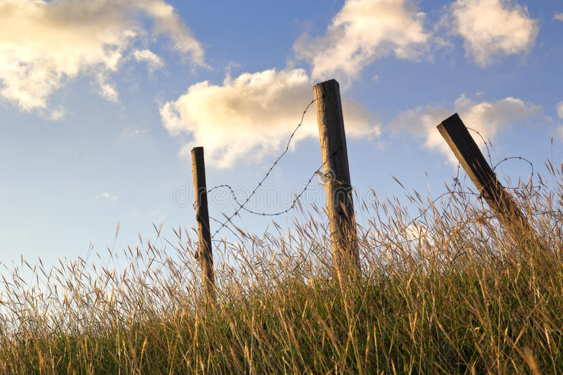 Broken barbed wire fence stock image