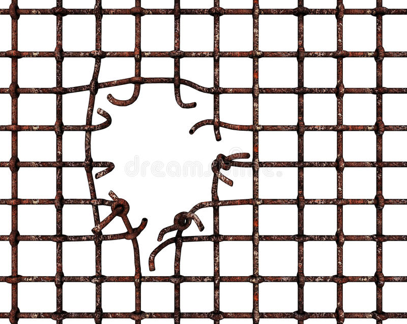 Broken bars. A grid of prison bars with a hole in it allowing escape. Isolated on white background vector illustration