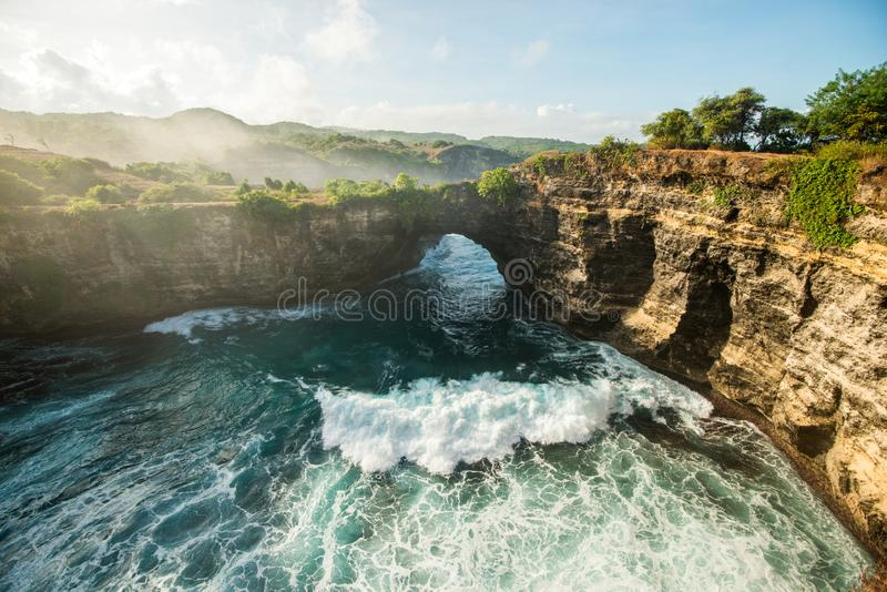 Broken Beach, Nusa Penida. Broken Beach on the Nusa Penida or Pasih Uug Beach Top tours in Indonesia royalty free stock image