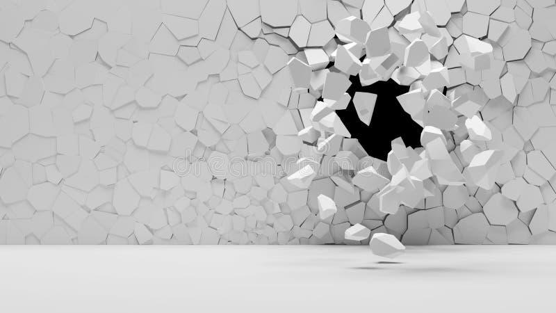 broken betongvägg royaltyfri illustrationer