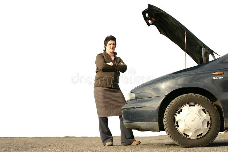 broken bilflicka henne fotografering för bildbyråer