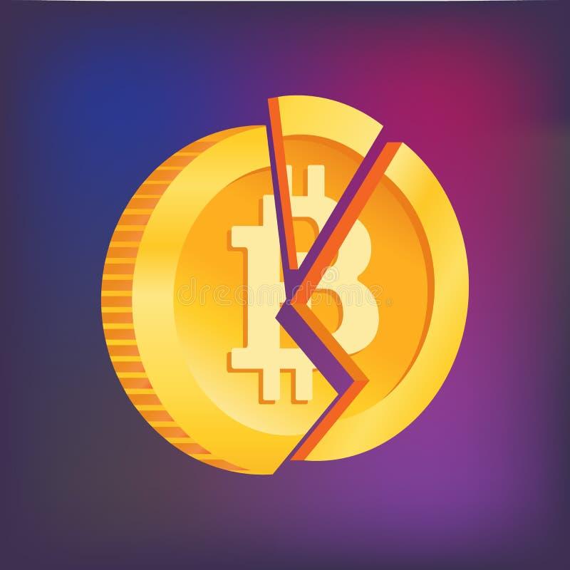 Broken bitcoin. Blockchain and crypto currency crisis. stock illustration