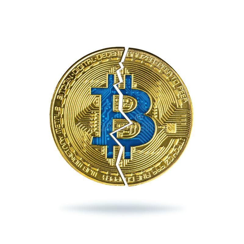 Broken bitcoin isolated on white background. Fall in exchange and decrease of value cryptocurrency vector illustration