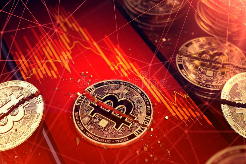 Broken bitcoin split in two pieces laying on a smartphone screen with stock-market diagram in red color. Bad news for bitcoin. Investors concept. 3D render vector illustration