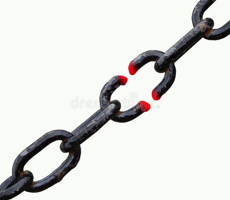 Broken Black Chain. Cut out of a broken and melted cahin stock image