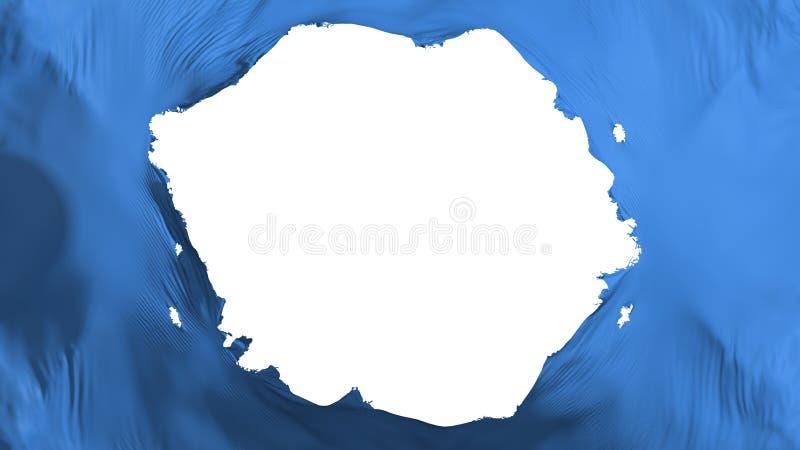 Broken Blue color flag. White background, 3d rendering vector illustration