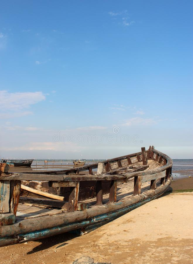 Broken boat grounding stock images