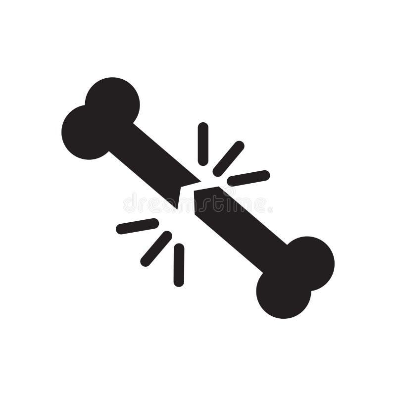 Broken bone icon vector isolated on white background, Broken bone sign , medical health symbols. Broken bone icon vector isolated on white background, Broken royalty free illustration