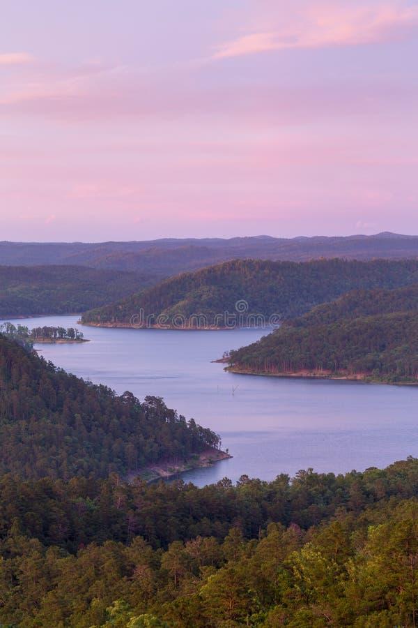 Broken Bow Lake. A beautiful sunset over Broken Bow Lake, Oklahoma stock image