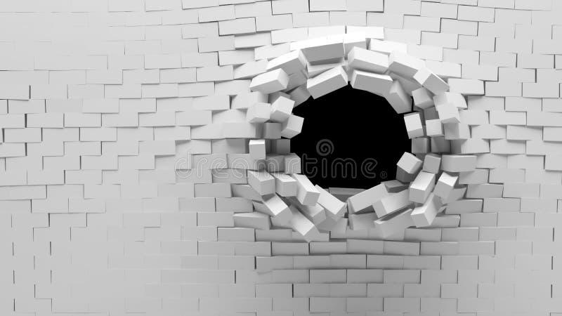 Broken Brick Wall royalty free illustration