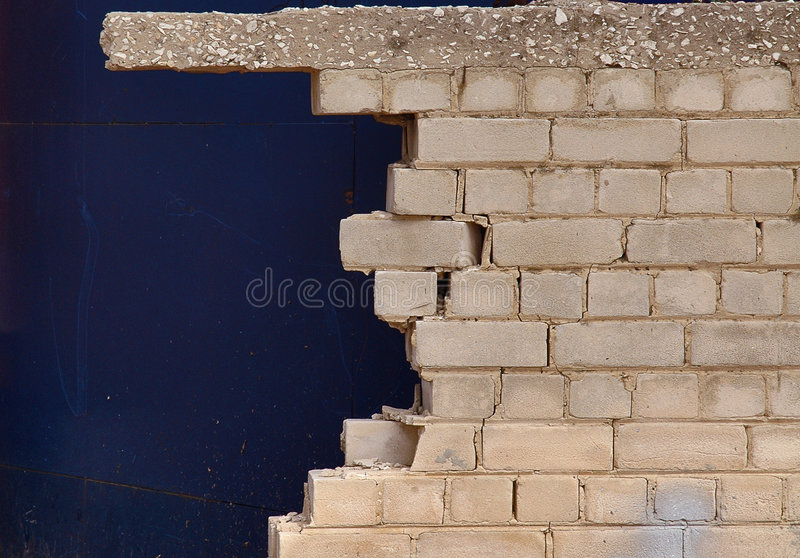 Broken brick wall close up royalty free stock images
