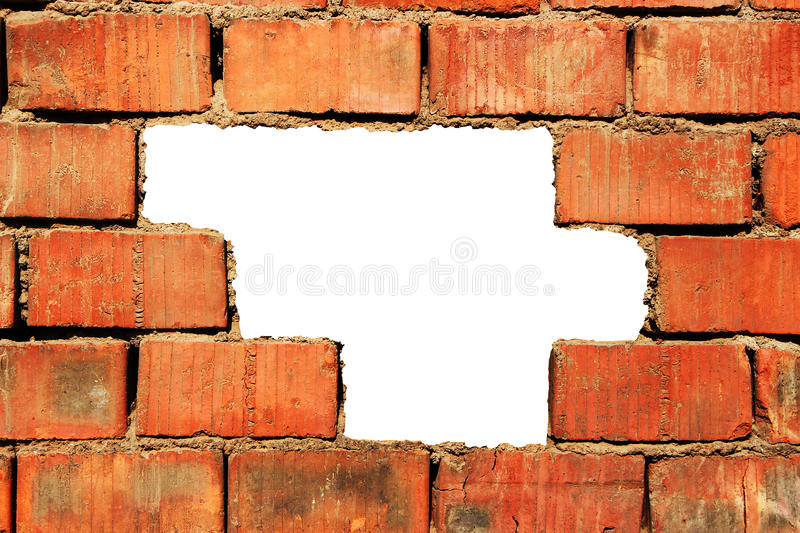 Broken brick wall royalty free stock photos