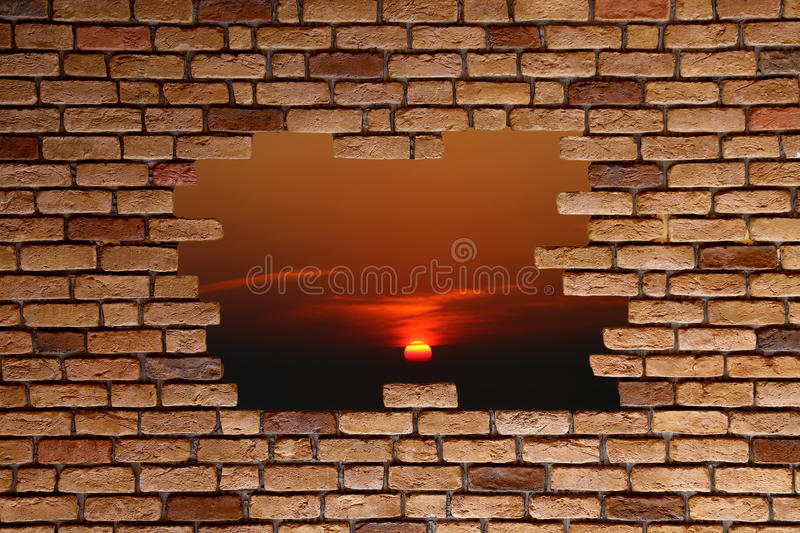 Broken brick wall stock photo