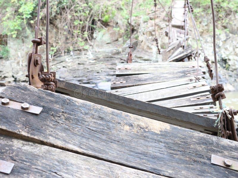 Broken bridge in east java village stock photo
