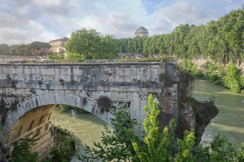 Broken bridge in Rome, Italy. Broken bridge in Rome, an ancient remnant of the Roman Empire royalty free stock photos