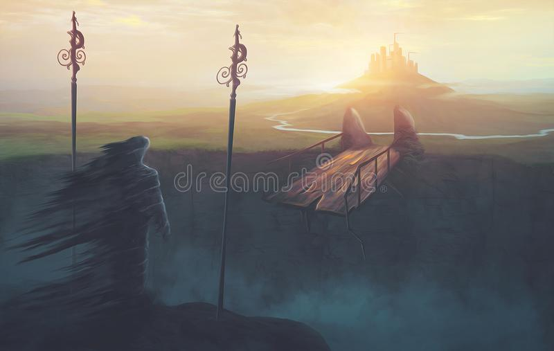Broken bridge to kingdom. A man of darkness is unable to get to a kingdom stock image