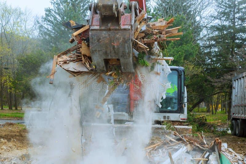 Broken building damaged by natural disaster hurricane, earthquake, tornado royalty free stock photos
