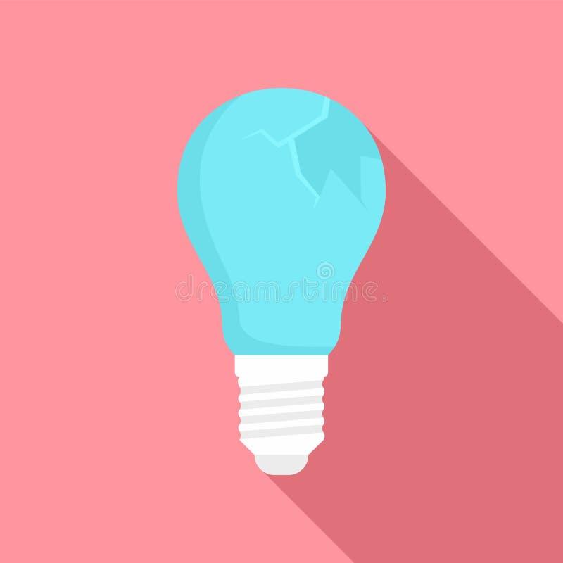 Broken bulb icon, flat style. Broken bulb icon. Flat illustration of broken bulb vector icon for web design royalty free illustration