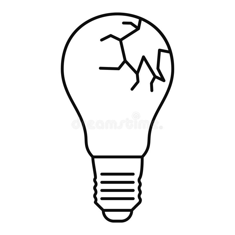 Broken bulb icon, outline style. Broken bulb icon. Outline illustration of broken bulb vector icon for web design isolated on white background royalty free illustration