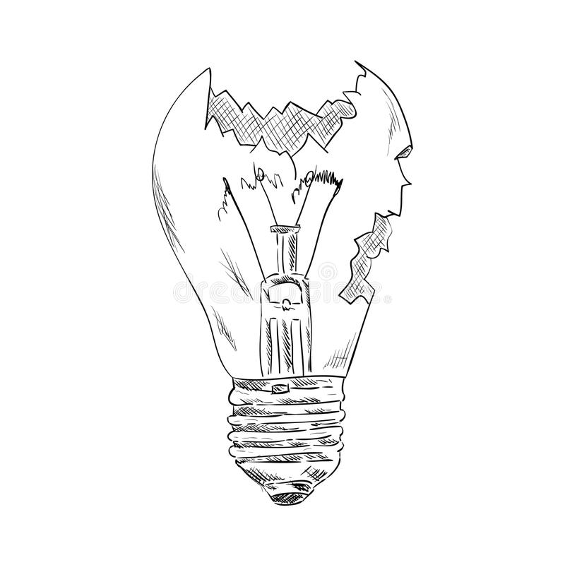 Broken bulb. Vector - broken bulb - isolated on background vector illustration