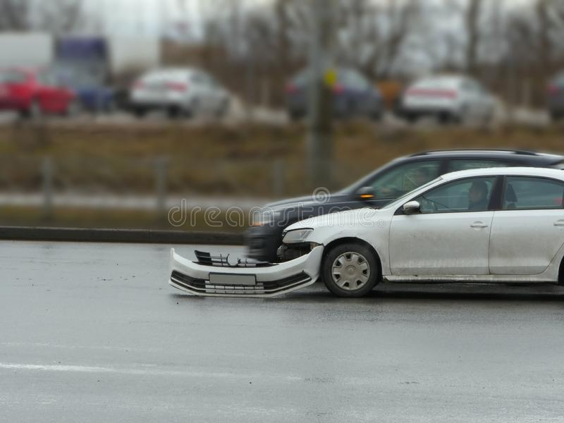 Broken bumper car. S as a result of an accident on the road royalty free stock photos