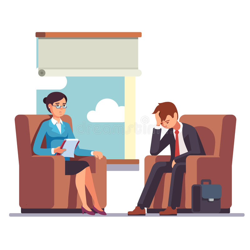 Broken businessman talking to psychologist royalty free illustration