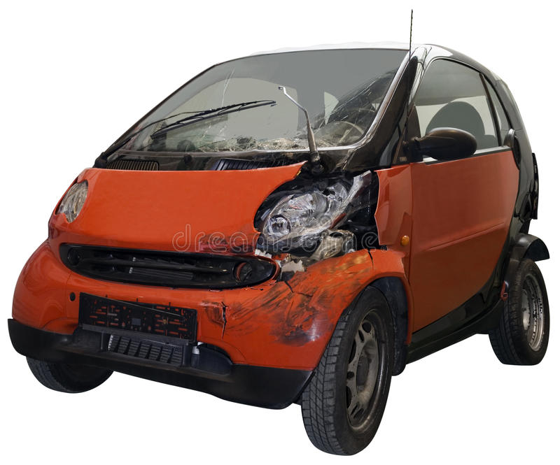 Broken car. Crashed car isolated on with clipping path royalty free stock image