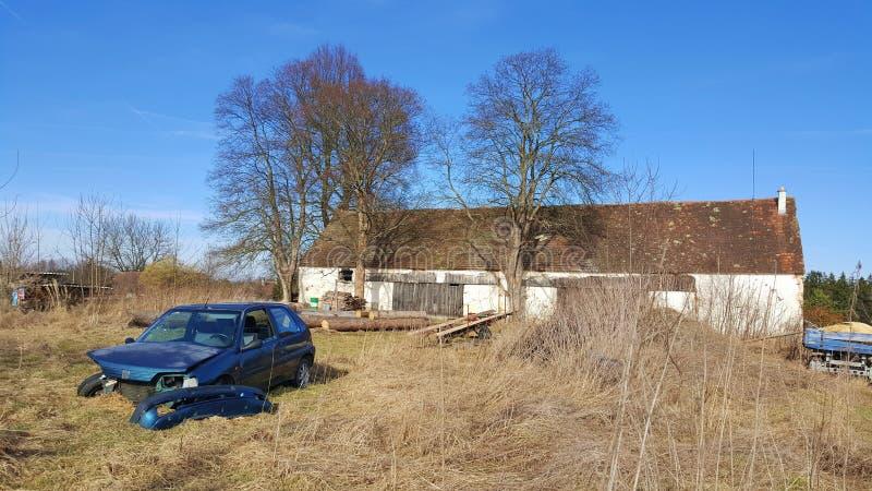 Broken Car in a Farm, Czechia royalty free stock photos