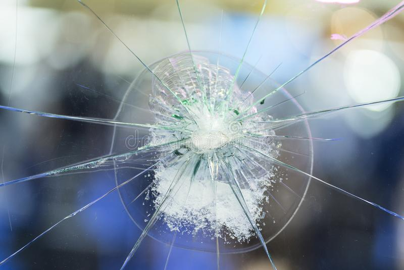 Broken car front window. Background 1 royalty free stock image