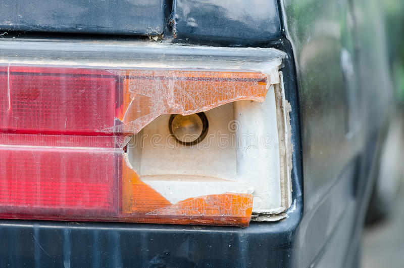broken car tail light stock images