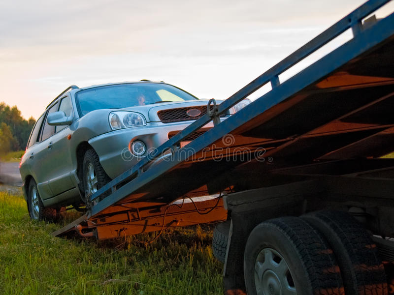 Download Broken Car Towing Calls In The Platform Stock Photo - Image: 19527930