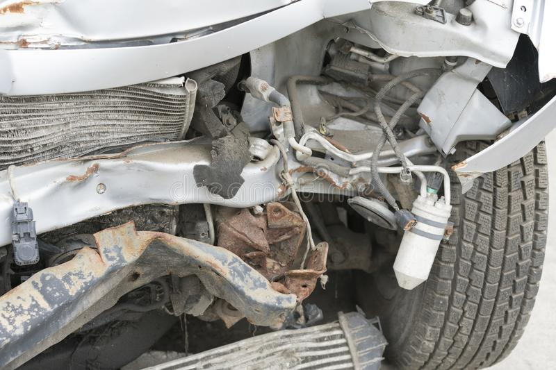 Broken car after a traffic accident stock photography