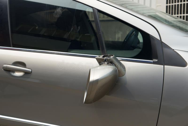 Broken car. Waiting for repairing,broken rear view mirror stock photography