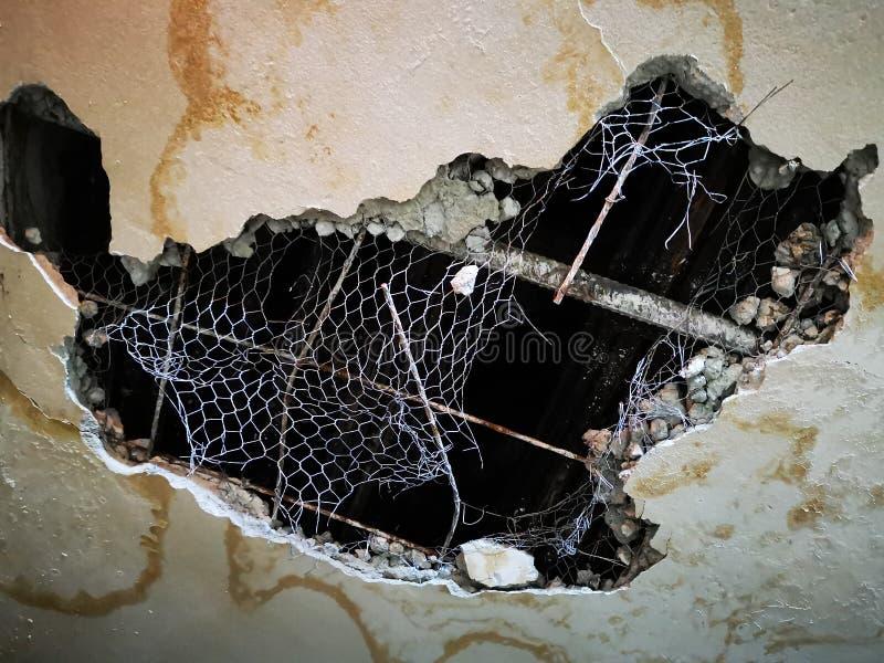 Broken ceiling - broken to concrete royalty free stock photography
