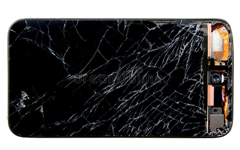 Broken Cell Phone. A cell phone with a broken screen royalty free stock photo