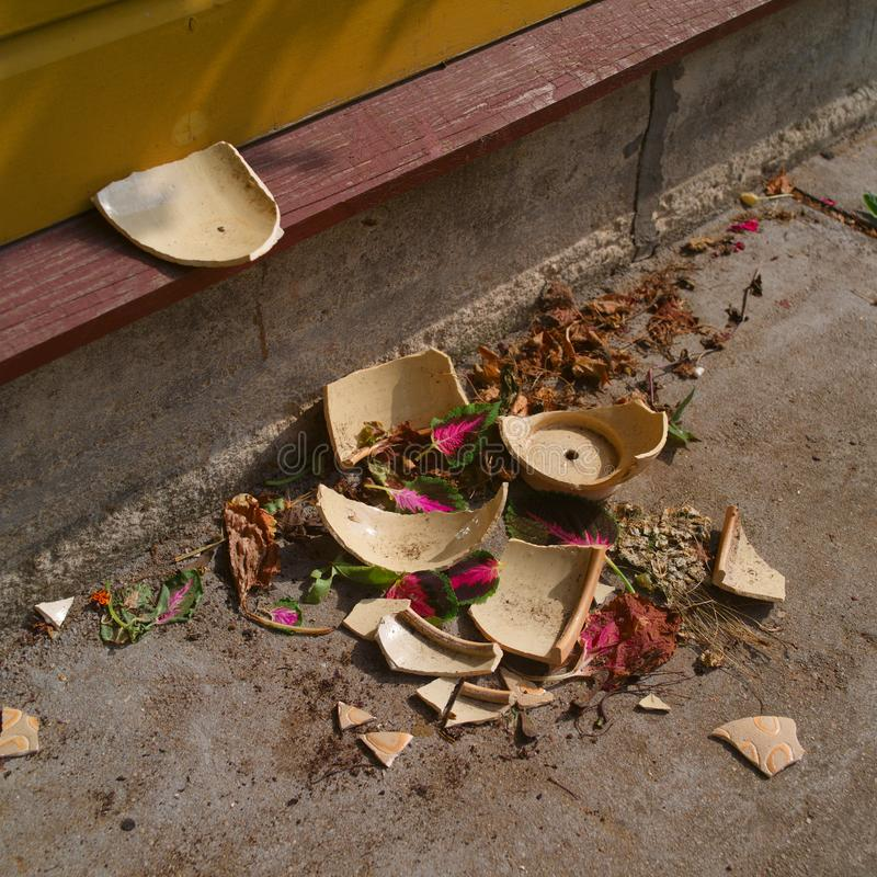 Broken ceramic flower pot royalty free stock photos