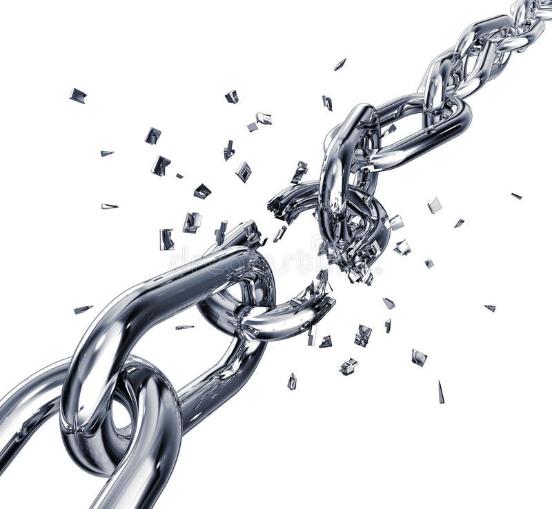 Broken chain. 3D rendering of a broken chain royalty free illustration