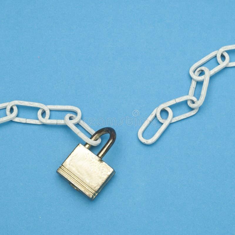 Broken Chain and Lock Security Concept stock photos