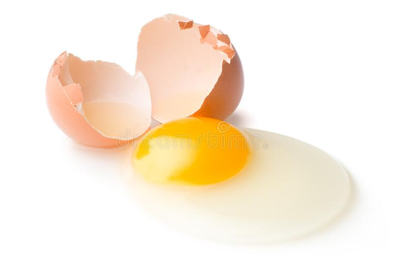 Download A Broken Chicken Egg Lies On A White Background With A Shell, Yo Stock Photo - Image of albumen, group: 105529784