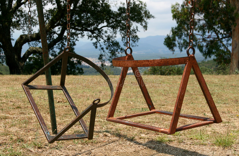 Download Broken child's swing chair stock image. Image of grounds - 5854477