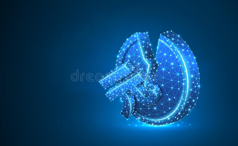Broken China Yuan Coin Neon 3d illustration. Polygonal Vector business, money, unstable finance, crash, broken circle. Concept. Low poly wireframe, triangle royalty free illustration