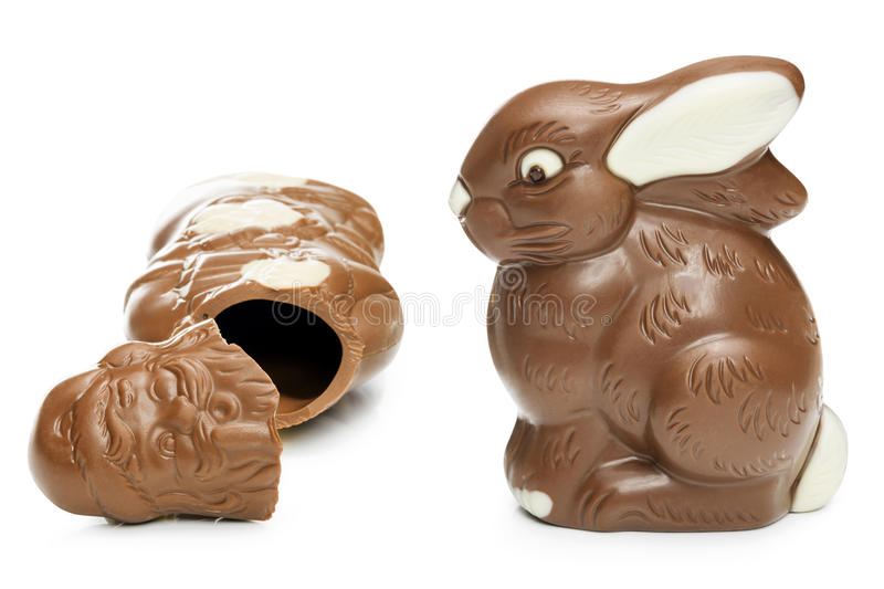 Download Broken Chocolate Santa Clause And Easter Bunny Stock Image - Image: 43132679
