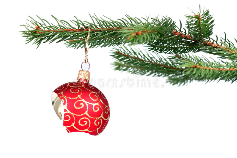 Broken Christmas decoration hanging on a tree royalty free stock photography